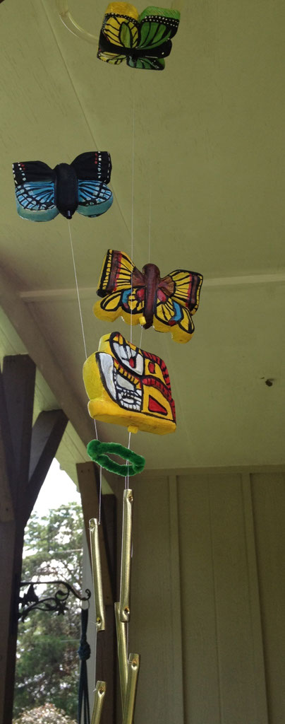 Wooden Butterfly wind chime